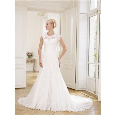 Mermaid Scoop Neckline Tulle Lace Wedding Dress Detachable Cap Sleeves Bolero Jacket