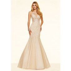 Mermaid See Through Champagne Tulle Lace Beaded Prom Dress