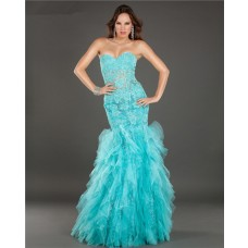 Mermaid See Through Lace Beaded Turquoise Tulle Ruffle Prom Dress