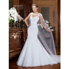 Mermaid Sheer Back Tulle Lace Wedding Dress With Cape Bow Belt