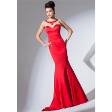 Mermaid Sheer Illusion Boat Neckline Red Satin Tulle Beaded Long Prom Dress