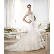 Mermaid Sheer Illusion Scoop Neckline Short Sleeve Lace Wedding Dress With Buttons