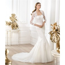 Mermaid Strapless Beaded Lace Wedding Dress With Three Quarter Sleeves Jacket