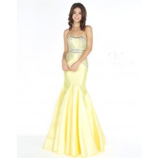 Mermaid Strapless Curve Neckline Lemon Yellow Satin Beaded Prom Dress