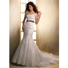 Mermaid Strapless Lace Wedding Dress With Off The Shoulder Jacket Purple Sash