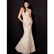 Mermaid Strapless Long Nude Champagne Lace Evening Wear Dress
