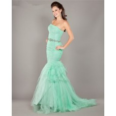 Mermaid Strapless Mint Green Tulle Ruched Prom Dress With Rhinestones