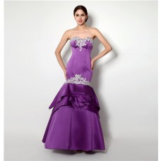 Mermaid Strapless Purple Satin Layered Evening Prom Dress With Appliques