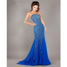 Mermaid Strapless Royal Blue Tulle Beaded Prom Dress With Train