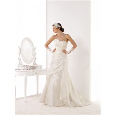 Mermaid Strapless Ruched Taffeta Lace Applique Wedding Dress