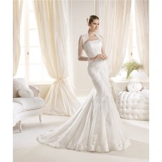 Mermaid Strapless Tight Fitting Lace Wedding Dress With Tulle Sleeved Jacket