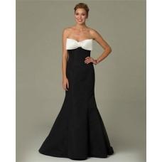 Mermaid Sweetheart Black Taffeta Prom Evening Dress With White Bow