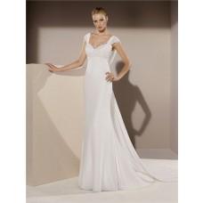 Mermaid Sweetheart Cap Sleeve Cowl Open Back Chiffon Lace Wedding Dress Sweep Train