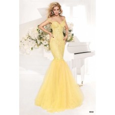 Mermaid Sweetheart Cap Sleeve Low Back Yellow Lace Tulle Prom Dress