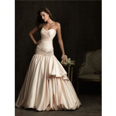 Mermaid Sweetheart Champagne Color Satin Wedding Dress With Ruched Train