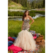 Mermaid Sweetheart Corset Champagne Tulle Ruffle Beaded Prom Dress With Spaghetti Straps