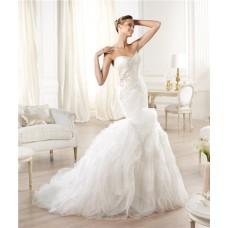 Mermaid Sweetheart Criss Cross Draped Feather Layered Organza Wedding Dress