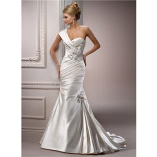 Mermaid Sweetheart Detachable Strap Ivory Satin Wedding Dress With Flower Feather