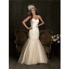 Mermaid Sweetheart Fit And Flare Champagne Tulle Lace Wedding Dress With Flower Sash