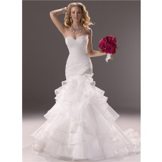 Mermaid Sweetheart Fit And Flare Layered Organza Wedding Dress With Ruffles
