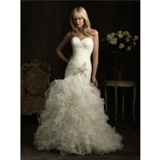 Mermaid Sweetheart Fit And Flare Organza Ruffle Wedding Dress With Beading