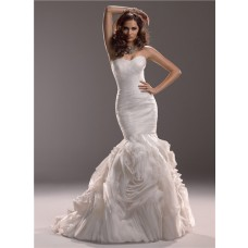 Mermaid Sweetheart Fit And Flare Tulle Rosette Wedding Dress With Ruching