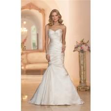 Mermaid Sweetheart Ivory Satin Ruched Wedding Dress Corset Back