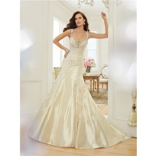Mermaid Sweetheart Keyhole Open Back Light Gold Satin Lace Corset Wedding Dress With Crystals