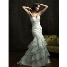 Mermaid Sweetheart Layered Organza Ruffle Wedding Dress With Beaded Crystal Applique