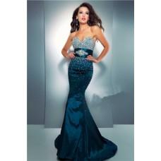 Mermaid Sweetheart Long Dark Navy Blue Taffeta Beaded Prom Dress With Belt