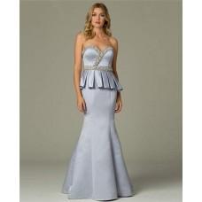 Mermaid Sweetheart Long Dusty Blue Satin Peplum Occasion Evening Dress