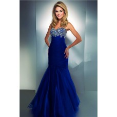 Mermaid Sweetheart Long Royal Blue Tulle Beaded Prom Dress With Ruching