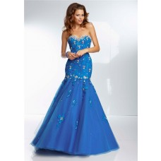 Mermaid Sweetheart Long Royal Blue Tulle Lace Beaded Prom Dress Corset Back