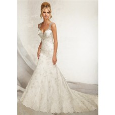 Mermaid Sweetheart Low Back Lace Beaded Wedding Dress With Straps Buttons