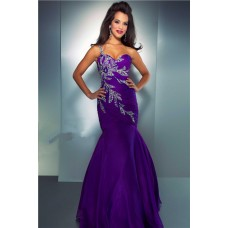 Mermaid Sweetheart One Strap Purple Organza Beaded Prom Dress With Ruching