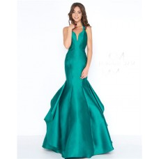 Mermaid Sweetheart Open Back Emerald Green Satin Ruffle Evening Prom Dress
