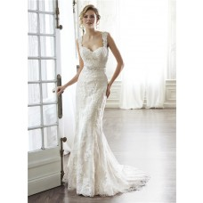Mermaid Sweetheart Open Back Lace Strap Wedding Dress With Crystals Sash