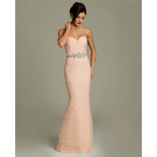 Mermaid Sweetheart Peach Tulle Ruched Evening Dress With Rhinestones Belt