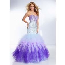 Mermaid Sweetheart Purple Blue Multi Color Tulle Ruffle Prom Dress Ombre Beading