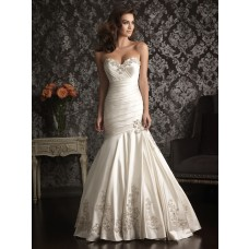 Mermaid Sweetheart Satin Ruched Wedding Dress With Embroidery Beading Crystals