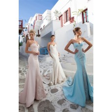 Mermaid Sweetheart Spaghetti Strap Light Sky Blue Satin Lace Prom Dress With Bow