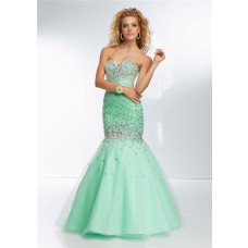 Mermaid Trumpet Sweetheart Corset Back Long Mint Green Tulle Beaded Prom Dress
