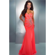 Mermaid Trumpet Sweetheart Long Neon Coral Chiffon Beaded Crystal Prom Dress