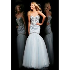 Mermaid Trumpet Sweetheart Long White Tulle Beaded Evening Prom Dress