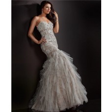 Mermaid Trumpet Sweetheart White Tulle Ruffle Vintage Lace Prom Dress