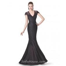 Mermaid V Neck Cap Sleeve Black Tulle Lace Beaded Long Evening Prom Dress