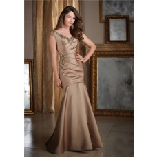 Mermaid V Neck Cap Sleeve Brown Satin Beaded Formal Occasion Evening Dress