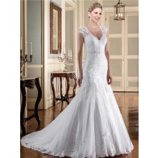 Mermaid V Neck Cap Sleeve Illusion Back Tulle Lace Wedding Dress With Buttons