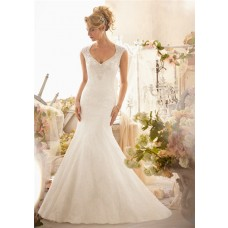 Mermaid V Neck Cap Sleeve See Through Back Tulle Lace Beaded Wedding Dress With Buttons
