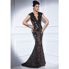 Mermaid V Neck Cap Sleeve Sheer Back Long Black Lace Formal Occasion Evening Dress